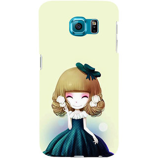 ifasho Winking Girl with green Cap Back Case Cover for Samsung Galaxy S6 Edge Plus