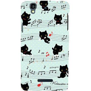 ifasho Animated Pattern design black and white music symbols and cats Back Case Cover for YU Yurekha