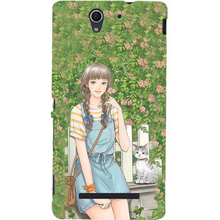 ifasho Girl in park Back Case Cover for Sony Xperia C3 Dual
