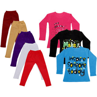 IndiWeaves Girls Cotton Full Sleeves Printed T-Shirt and Cotton Legging (Pack of 8)_Maroon::Beige::White::Black::Red::Red::Blue::Black_Size: 6-7 Year