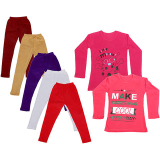 IndiWeaves Girls Cotton Full Sleeves Printed T-Shirt and Cotton Legging (Pack of 7)_Maroon::Beige::White::Purple::Red::Red::Red_Size: 6-7 Year