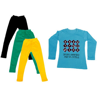 IndiWeaves Girls Cotton Full Sleeves Printed T-Shirt and Cotton Legging (Pack of 4)_Black::Green::Yellow::Blue_Size: 6-7 Year