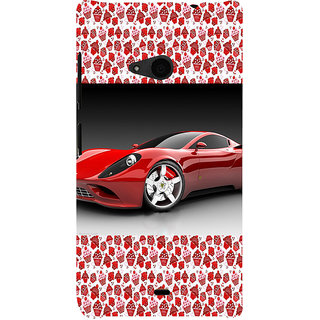 ifasho Stylish RED Car Back Case Cover for Nokia Lumia 535