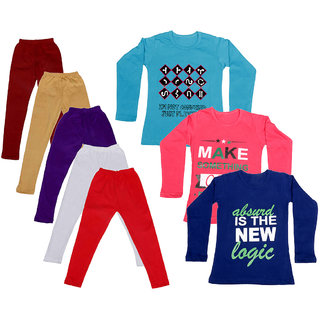 IndiWeaves Girls Cotton Full Sleeves Printed T-Shirt and Cotton Legging (Pack of 8)_Maroon::Beige::White::Black::Red::Blue::Purple::Red_Size: 6-7 Year