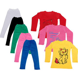 IndiWeaves Girls Cotton Full Sleeves Printed T-Shirt and Cotton Legging (Pack of 8)_White::Black::Pink::Green::Blue::Red::Yellow::Pink_Size: 6-7 Year