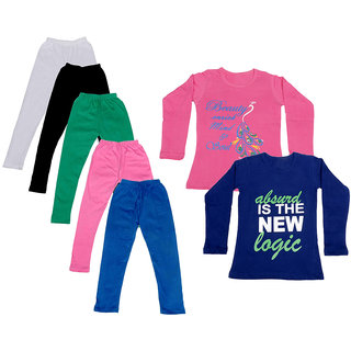 IndiWeaves Girls Cotton Full Sleeves Printed T-Shirt and Cotton Legging (Pack of 7)_White::Black::Pink::Green::Blue::Pink::Purple_Size: 6-7 Year