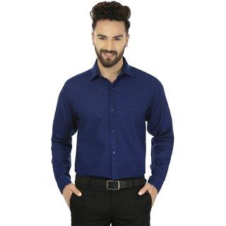 First Row Blue Regular Fit Cotton Blend Formal Shirt