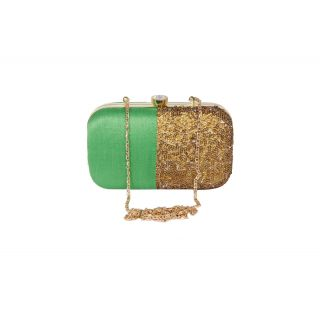 Raw silk Green and golden designer clutch box