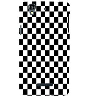 ifasho Squre and Checks In black and white Pattern Back Case Cover for YU Yurekha
