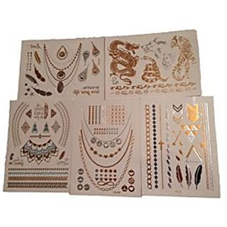 Best Temporary Metallic Tattoos - Gold/Silver - Premium Designs - Animals - Dragons - Native - Jewelry