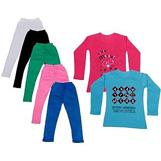IndiWeaves Girls Cotton Full Sleeves Printed T-Shirt and Cotton Legging (Pack of 7)_White::Black::Pink::Green::Blue::Red::Blue_Size: 6-7 Year
