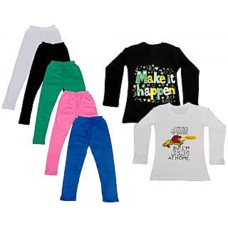 IndiWeaves Girls Cotton Full Sleeves Printed T-Shirt and Cotton Legging (Pack of 7)_White::Black::Pink::Green::Blue::Black::white_Size: 6-7 Year