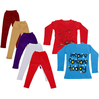 IndiWeaves Girls Cotton Full Sleeves Printed T-Shirt and Cotton Legging (Pack of 7)_Maroon::Beige::White::Purple::Red::Red::Blue_Size: 6-7 Year