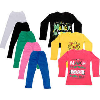 IndiWeaves Girls Cotton Full Sleeves Printed T-Shirt and Cotton Legging (Pack of 8)_White::Black::Pink::Green::Blue::Black::Red::Yellow_Size: 6-7 Year