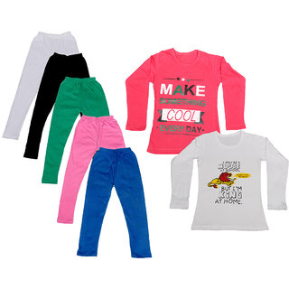 IndiWeaves Girls Cotton Full Sleeves Printed T-Shirt and Cotton Legging (Pack of 7)_White::Black::Pink::Green::Blue::Red::white_Size: 6-7 Year
