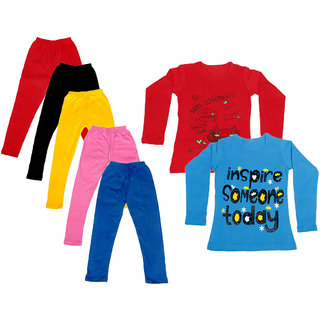 IndiWeaves Girls Cotton Full Sleeves Printed T-Shirt and Cotton Legging (Pack of 7)_Red::Black::Pink::Yellow::Blue::Red::Blue_Size: 6-7 Year