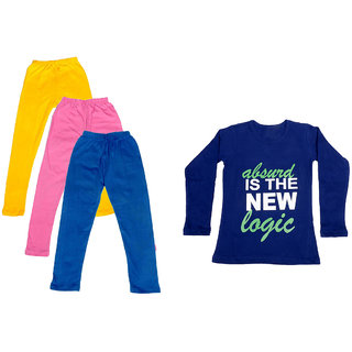 IndiWeaves Girls Cotton Full Sleeves Printed T-Shirt and Cotton Legging (Pack of 4)_Yellow::Pink::Blue::Purple_Size: 6-7 Year