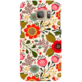 ifasho Animated Pattern colrful design flower with leaves Back Case Cover for Samsung Galaxy S7 Edge