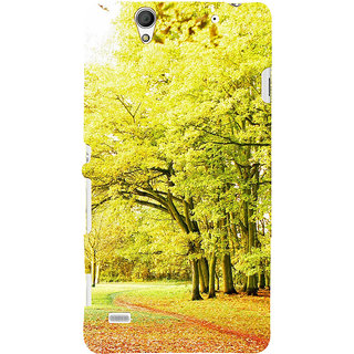 ifasho Green 3Dees with red leaves on the road Back Case Cover for Sony Xperia C4