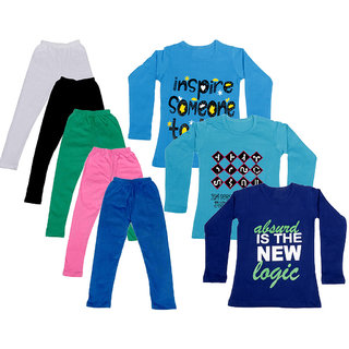 IndiWeaves Girls Cotton Full Sleeves Printed T-Shirt and Cotton Legging (Pack of 8)_White::Black::Pink::Green::Blue::Blue::Purple::Blue_Size: 6-7 Year