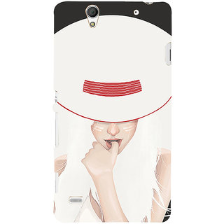 ifasho Gorgeous Winking Girl in white hat Back Case Cover for Sony Xperia C4