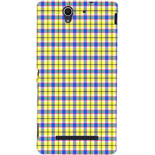 ifasho Colour Full yellow Squre Pattern Back Case Cover for Sony Xperia C3 Dual