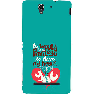 ifasho Heart Break Girl Back Case Cover for Sony Xperia C3 Dual