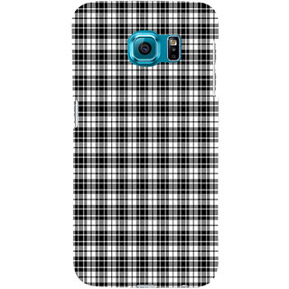 ifasho Modern Theme of black and white Squre lines Back Case Cover for Samsung Galaxy S6 Edge Plus