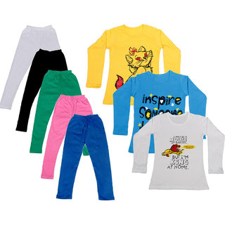 IndiWeaves Girls Cotton Full Sleeves Printed T-Shirt and Cotton Legging (Pack of 8)_White::Black::Pink::Green::Blue::Yellow::white::Blue_Size: 6-7 Year