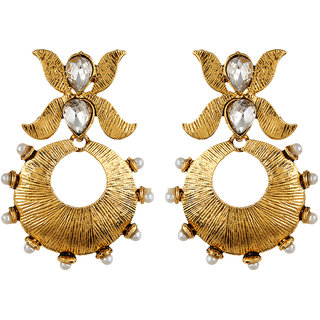Fabula's Gold & White Zircon American Diamond AD CZ & Pearl Floral Traditional Ethnic Jewellery Jewellery Drop Earrings for Women, Girls & Ladies