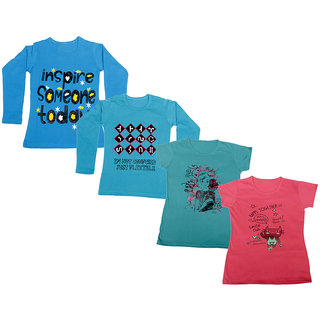 IndiWeaves Girls 2 Cotton Full Sleeves and 2 Half Sleeves Printed T-Shirt (Pack of 4)_Blue::Blue::Blue::Pink_Size: 6-7 Year