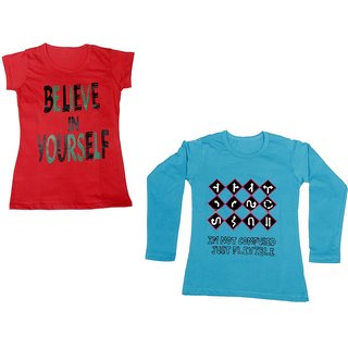 IndiWeaves Girls Cotton 1 Full Sleeves Printed T-Shirt and 1 Half Sleeves T-Shirt (Pack of 2)_Blue::Red_Size: 8-9 Year
