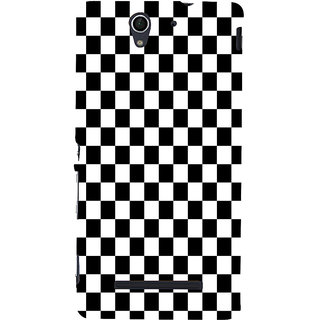 ifasho Squre and Checks In black and white Pattern Back Case Cover for Sony Xperia C3 Dual