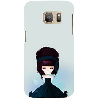 ifasho Cute Girl with Ribbon in Hair Back Case Cover for Samsung Galaxy S7 Edge