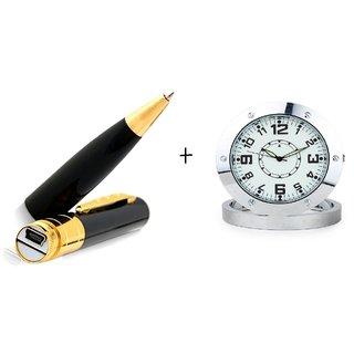 Spy Guru Combo Of Spy Pen And Steel Table Clock Cameras