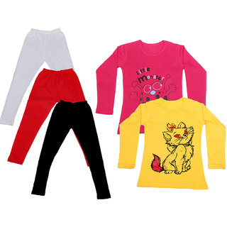 IndiWeaves Girls Cotton Full Sleeves Printed T-Shirt and Cotton Legging (Pack of 5)_White::Red::Black::Red::Yellow_Size: 6-7 Year