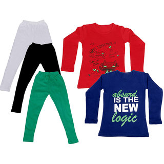 IndiWeaves Girls Cotton Full Sleeves Printed T-Shirt and Cotton Legging (Pack of 5)_White::Black::Green::Red::Purple_Size: 6-7 Year