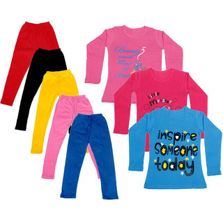 IndiWeaves Girls Cotton Full Sleeves Printed T-Shirt and Cotton Legging (Pack of 8)_Red::Black::Pink::Yellow::Blue::Pink::Blue::Red_Size: 6-7 Year