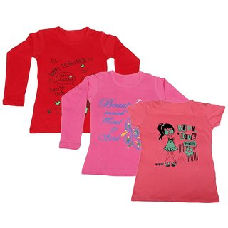 IndiWeaves Girls 2 Cotton Full Sleeves and 1 Half Sleeves Printed T-Shirt (Pack of 3)_Red::Pink::Pink_Size: 14-15 Year
