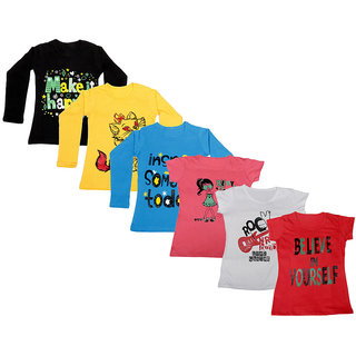 IndiWeaves Girls Cotton Full Sleeves Printed T-Shirt (Pack of 4)_Black::Blue::Yellow::Pink::White::Red_Size: 6-7 Year