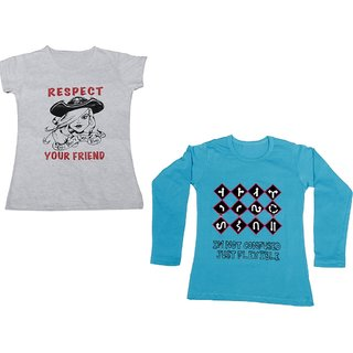 IndiWeaves Girls Cotton 1 Full Sleeves Printed T-Shirt and 1 Half Sleeves T-Shirt (Pack of 2)_Blue::White_Size: 8-9 Year