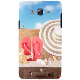 ifasho hat and chappal at a boat in Beach  Back Case Cover for Samsung Galaxy J5