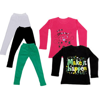 IndiWeaves Girls Cotton Full Sleeves Printed T-Shirt and Cotton Legging (Pack of 5)_White::Black::Green::Red::Black_Size: 6-7 Year