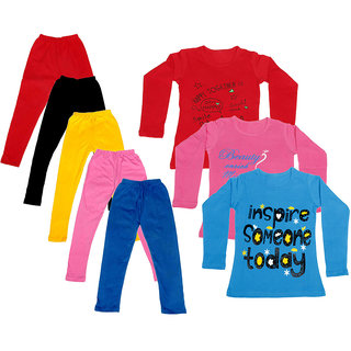 IndiWeaves Girls Cotton Full Sleeves Printed T-Shirt and Cotton Legging (Pack of 8)_Red::Black::Pink::Yellow::Blue::Red::Blue::Pink_Size: 6-7 Year