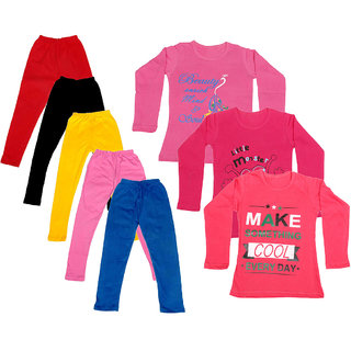 IndiWeaves Girls Cotton Full Sleeves Printed T-Shirt and Cotton Legging (Pack of 8)_Red::Black::Pink::Yellow::Blue::Pink::Red::Red_Size: 6-7 Year