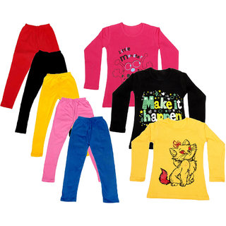 IndiWeaves Girls Cotton Full Sleeves Printed T-Shirt and Cotton Legging (Pack of 8)_Red::Black::Pink::Yellow::Blue::Red::Yellow::Black_Size: 6-7 Year