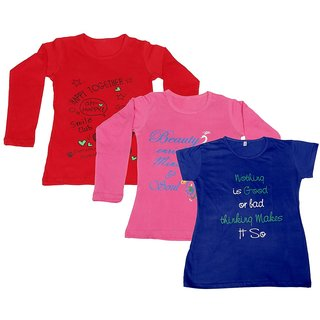 IndiWeaves Girls 2 Cotton Full Sleeves and 1 Half Sleeves Printed T-Shirt (Pack of 3)_Red::Pink::Blue_Size: 6-7 Year