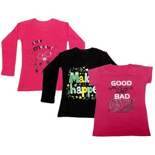 IndiWeaves Girls 2 Cotton Full Sleeves and 1 Half Sleeves Printed T-Shirt (Pack of 3)_Red::Black::Pink_Size: 6-7 Year