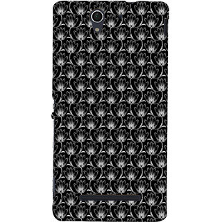 ifasho Animated Pattern black and white many lotus flower Back Case Cover for Sony Xperia C3 Dual