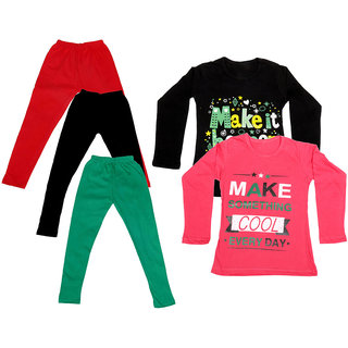 IndiWeaves Girls Cotton Full Sleeves Printed T-Shirt and Cotton Legging (Pack of 5)_Red::Black::Green::Black::Red_Size: 6-7 Year